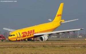 Zu guter Letzt entschuldigt sich auch dieser DHL-Flieger noch mit gesenktem Haupt für die Unannehmlichkeiten.